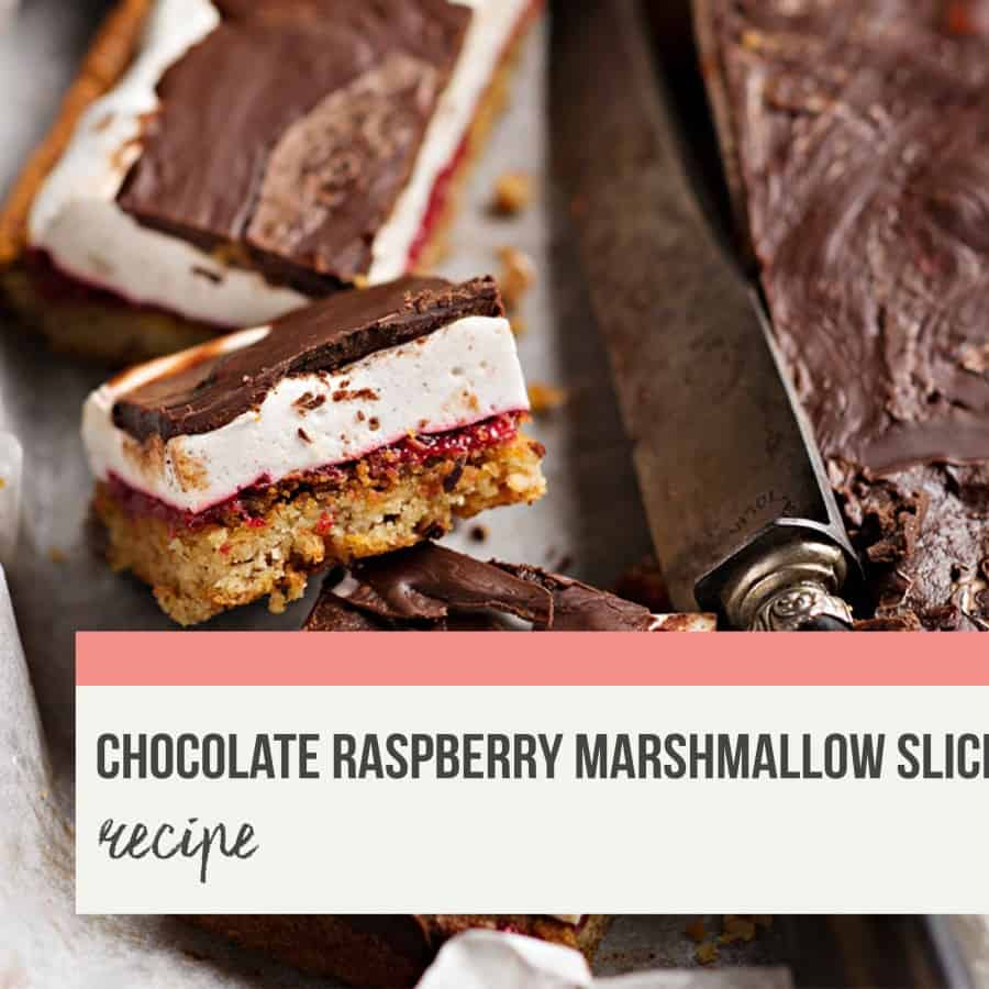 Rebecca Coomes The Healthy Gut Chocolate Raspberry Marshmallow Slice Blog Banner