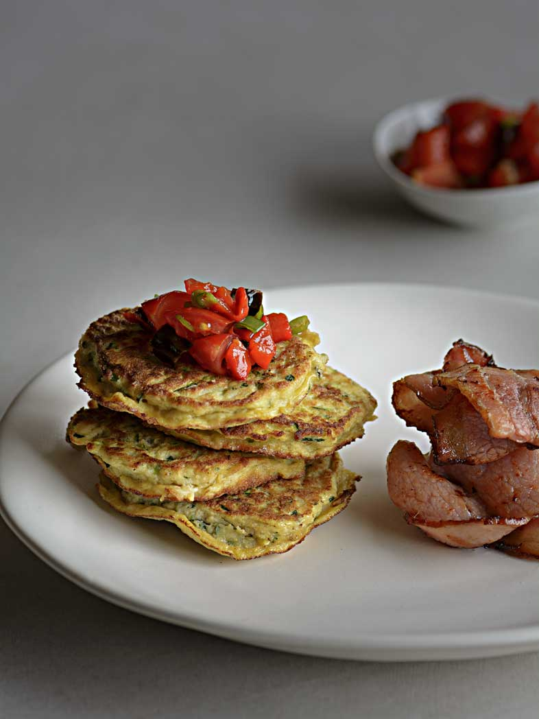 Zucchini Fritters With Crispy Bacon