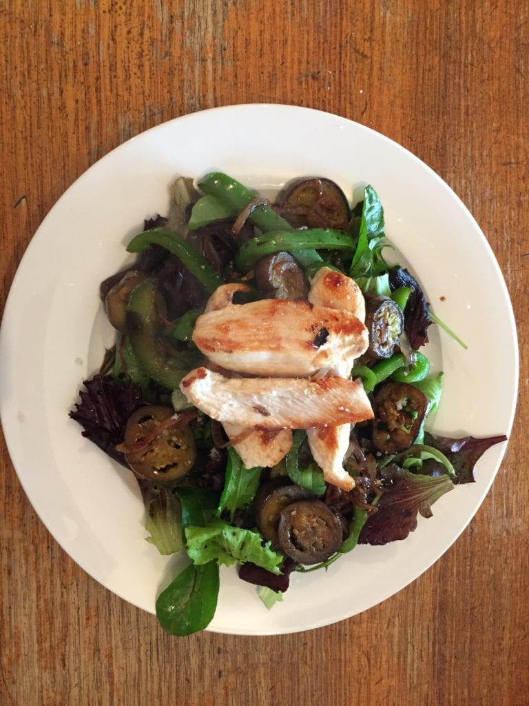 Rebecca Coomes week 2 review on the 8-week blood sugar diet - Grilled Chicken Eggplant Capsicum Salad