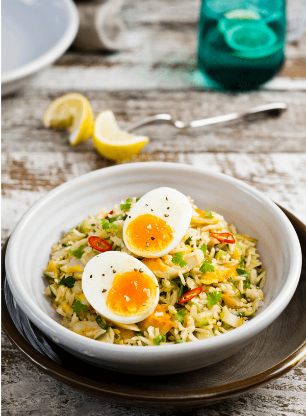 Rebecca Coomes the healthy gut blog spicy breakfast kedgeree recipe