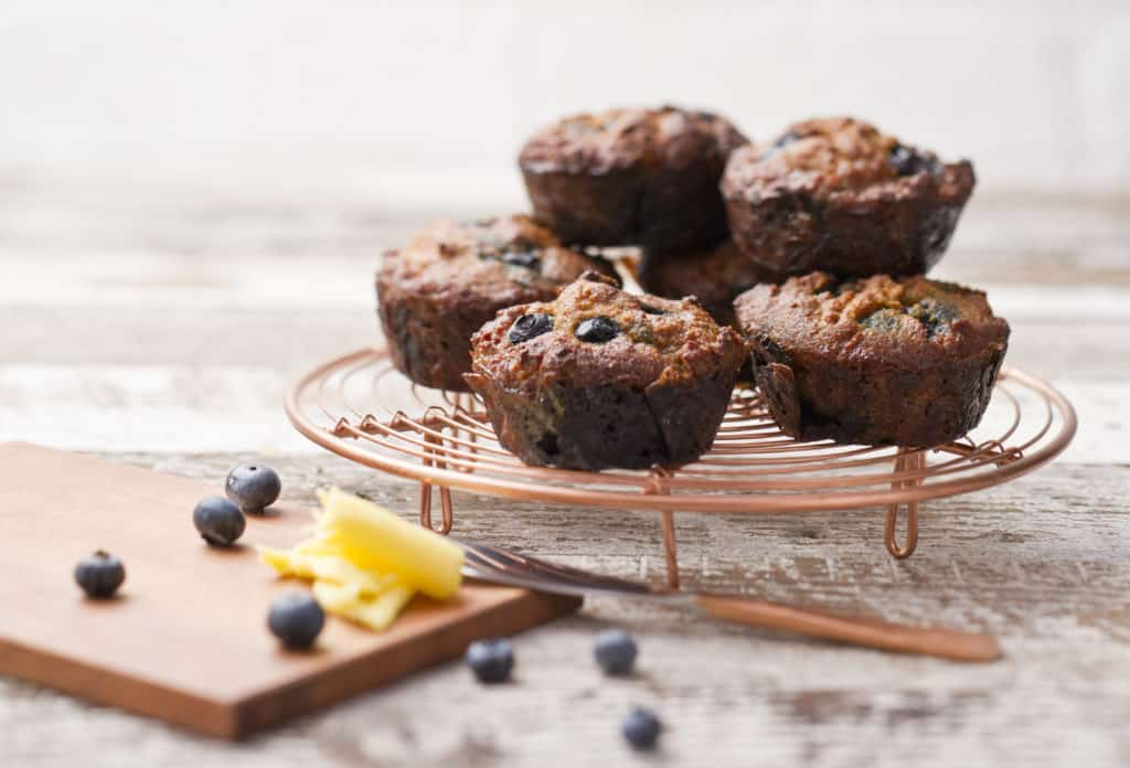 The Healthy Gut recipe for Blueberry Muffins by Rebecca Coomes from the SIBO Breakfast Recipe eBook