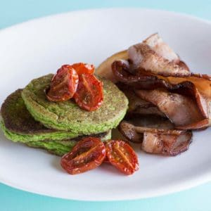Spinach Souffle Pancakes With Tomato And Bacon Recipe 800x800