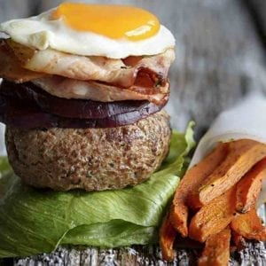 Aussie Burger With The Works With A Side Of Carrot Fries Recipe 800x800